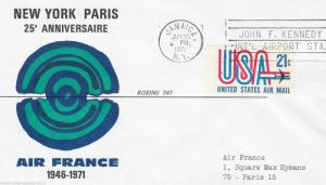 FRANCE - USA 1971 COVERS, 25th ANNIVERSARY PARI TO NEW YORK AIR SERVICE. R352