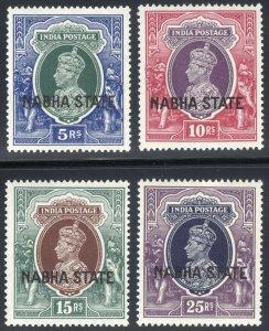 India Nabha 1941 5r-25r GVI HV SG 91-94 Scott 83-86 UMM/MNH Cat £515($680)