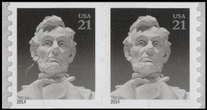 US 4861 Abraham Lincoln 21c pair (2 stamps from coil) MNH 2014