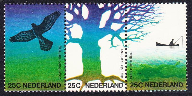 Netherlands Birds Nature and Environment strip of 4 SG#1184-1186