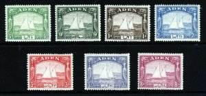 ADEN 1937 Arab Dhows Part Set to 8 As (ex. 2 As SG 4) SG 1 to SG 8 MNH