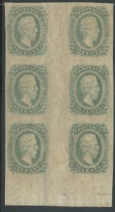CSA Scott #11d (AD) Green Mint OG NH Gutter Block of 6 Confederate Stamps VF