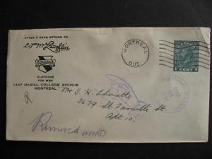 CANADA 1934 McLaughlin clothing Montreal advertising cover,with return to sender