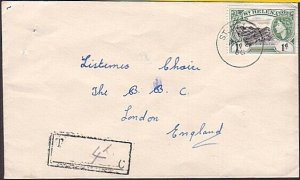 ST HELENA 1960 Commercial cover to BBC London - scarce Tax mark............34768