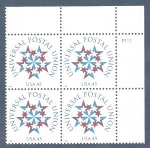 3332 Universal Postal Union Plate Block Mint/nh (Free Shipping)
