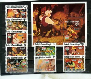 TURKS & CAICOS 1980 DISNEY CHRISTMAS/PINOCCHIO SET OF 9 STAMPS & S/S MNH