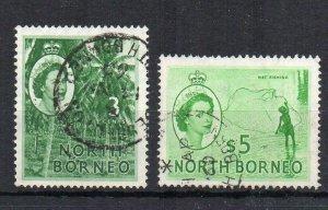 North Borneo 1959 3c and 1957 $5 FU CDS