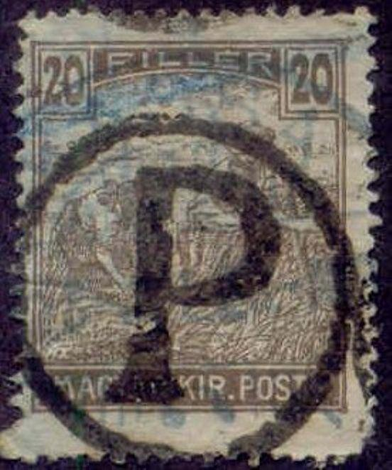 Hungary 1915-8 'P in Circle' Postage Due Overprint on 20f Harvesting Stamp