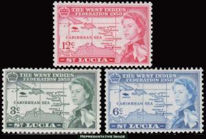 Saint Lucia Scott 170-172 Mint never hinged.