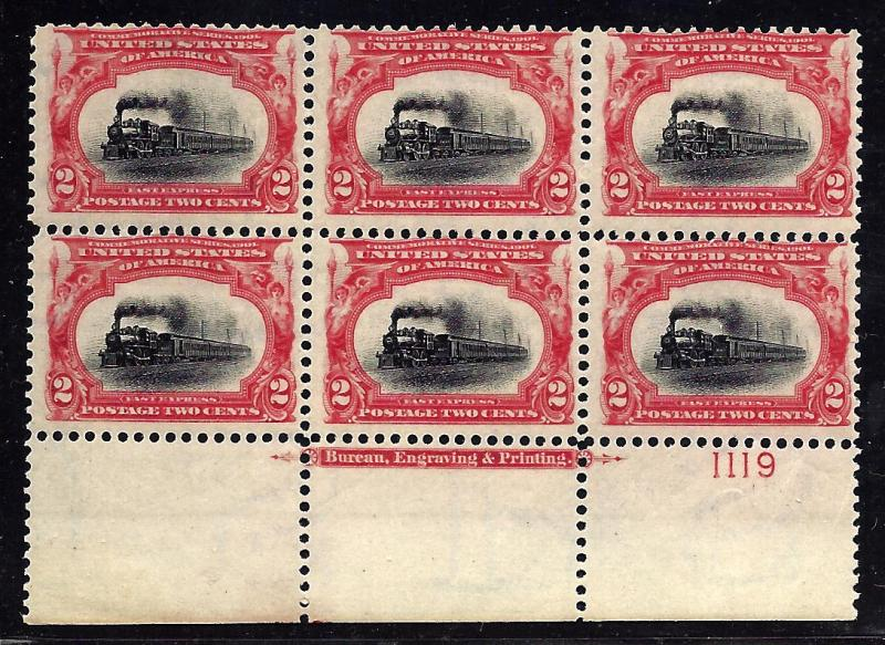295 Mint,OG,NH... Plate Block of 6 w/Imprint... SCV $475.00