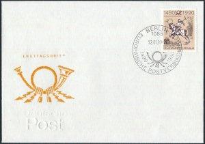 1990 Germany, GDR, DDR Paintings, Art, Albrecht Dürer, Post Rider on FDC!