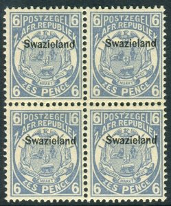 SWAZILAND-1889-90 6d Blue.  An unmounted mint block of 4 Sg 6