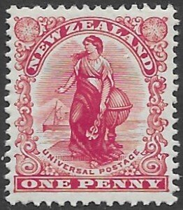 New  Zealand  G-11a  1908  one penny  fvf mint - hinged
