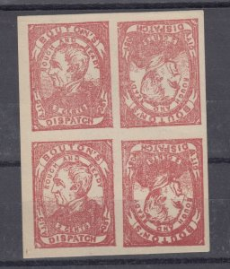 USA Bouton's City 2c Dispatch Reprint Block Of 4 Mint J9082