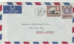 Uganda 1953 Nairobi Kenya Cancel to Germany Airmail Two Stamps Cover Ref 25307