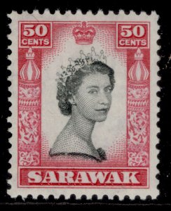 SARAWAK QEII SG199, 50c black & carmine, M MINT.