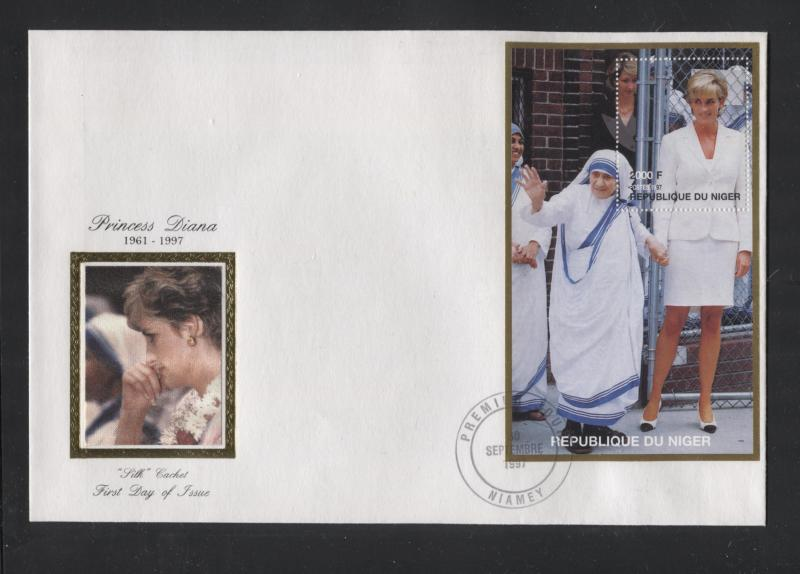 STAMP STATION PERTH Niger #946 FDC S/S Princess Diana Memorial Silk Cachet CTO