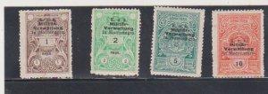 4 Montenegro 1920 Austria Military Government MNH Revenue Stamps