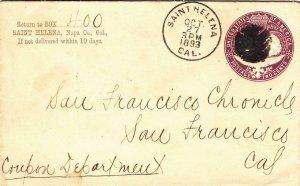 1893, St. Helena to San Francisco, CA, Back Stamped San Francisco (37618)