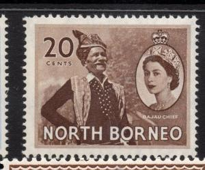 North Borneo 1954 QEII Early Issue Fine Mint Hinged 20c. 225338