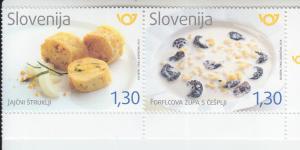 2018 Slovenia Egg Struklji & Milk Soup Pair (Scott 1305) MNH