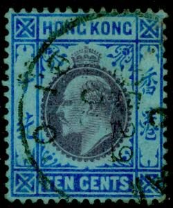 HONG KONG SG81, 10c purple & blue/blue, FINE used. WMK MULT CA.
