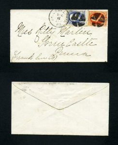 # 182 & 183 on cover from Philadelphia, PA to Greencastle, PA - 12-6-1870's