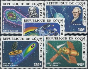 1986 Ivory Coast Halley´s Comet, Space, Telescope, complete set VFMNH, CAT16$