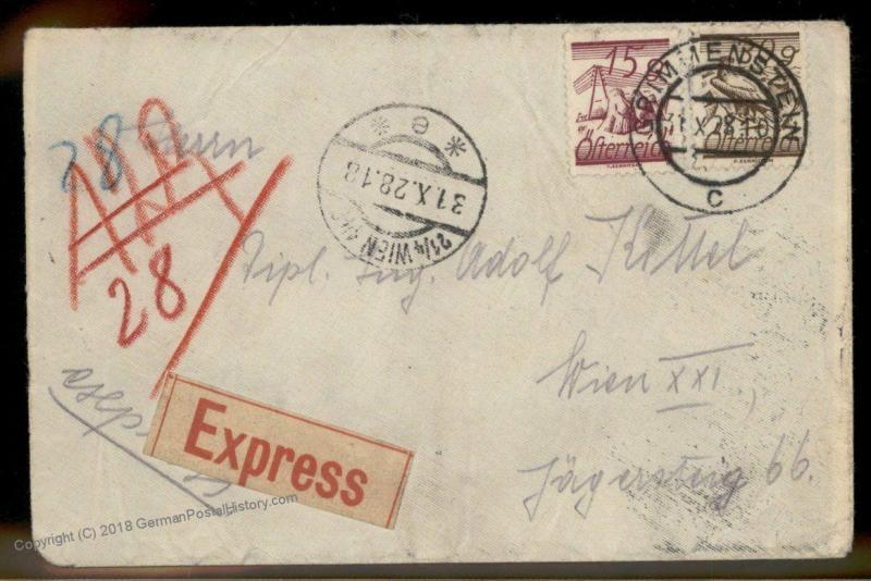Austria 1928 GRIMMENSTEIN Vienna Express Rohrpost Pneumatic Cover 88953