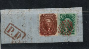 USA #30 #35 Very Fine Used On Lovely Piece **With Certificate**