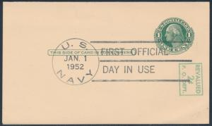 #UY14 JAN 1,1952 WITH NAVY CANCEL FIRST DAY ISSUE BS9115