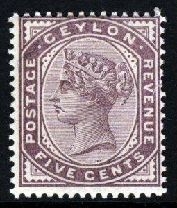 CEYLON Queen Victoria 1886 5c. Dull Purple Wmk. Crown CA. Perf. 14 SG 195 MINT
