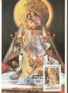 SALVADOR DALI CHRISTMAS SAO TOME AND PRINCIPE 1983 MAXICARD MAXIMUM R2021107
