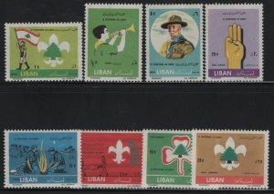 LEBANON, 376-380, (8) SET, HINGED, 1962, Bugler, Scout Carrying Flag