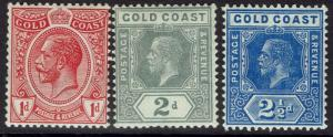 GOLD COAST 1913 KGV 1D 2D AND 21/2D WMK MULTI CROWN CA
