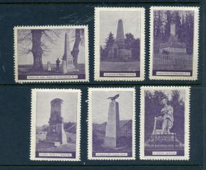 6 VINTAGE GERMAN POSTER CINDERELLA STAMPS (L403) GERMANY MONUMENTS MEMORIAL