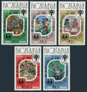 Nicaragua 1101-1101D red,MNH. Olympics Lake Placid,Moscow-1980.IYC-1979.