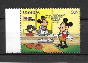 UGANDA MNH SC#889 MICKEY AND MINI MOUSE SCV$.25 VERY NICE