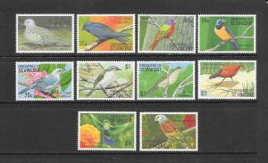 BIRDS - ST VINCENT GRENADINES #725-34  MNH