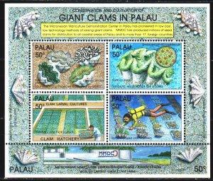 Palau. 1991. bl11. Giant mollusks, fauna. MNH.