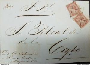 O) 1869 PUERTO RICO, QUEEN ISABEL II- ULTRAMAR 10 CENT, FRONT LETTER TO CEYBA