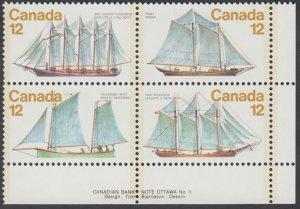 Canada - #747a Sailing Vessels Plate Block - MNH
