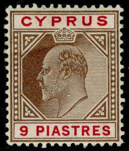 CYPRUS SG68a, 9pi yellow-brown & carmine, M MINT. Cat £60.