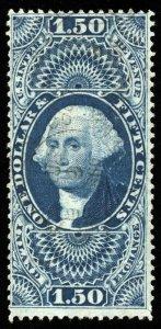 B629 U.S. Revenue Scott #R78c $1.50 Inland Exchange, faint handstmp cancel