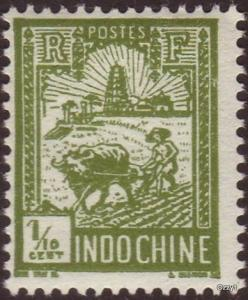 Indo China 1927 Sc#115 SG#136 1/10c Green Farmer Ploughing Mint