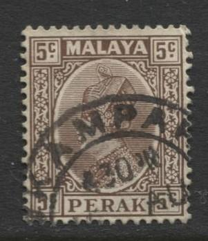 Malaya-Perak -Scott 72 - Sultan Iskandar - 1935- VFU - Single 5c Stamp