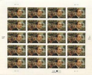 US: 1995 ROBERT PENN WARREN; Complete Sheet Sc 3904; 37 Cents Values