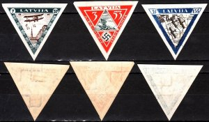LATVIA 1933 Air Post: For Wounded Aviators. Mi. 225B-227B Imperf Inverted Wmk MH