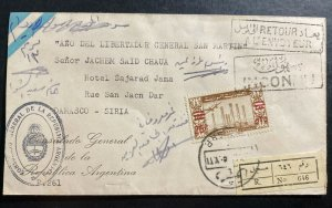 1930s Argentinian Consulate In Damascus Syria Cover to Hotel Sajarad Returned