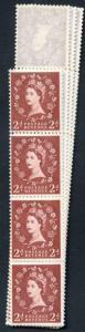 S49 2d Light Red Brown Crowns Wmk U/M Coil Strip 58 Violet Phosphor